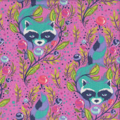 Raccoons on Pink Tula Pink Leaves Quilting Fabric