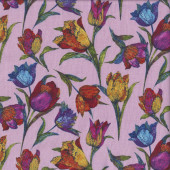 Colourful Tulip Flowers on Pink Floral Quilting Fabric
