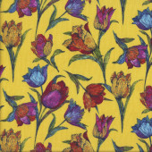 Colourful Tulip Flowers on Yellow Floral Quilting Fabric