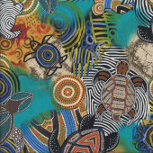 Turtles Aboriginal Design Dreamtime Quilting Fabric