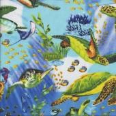 Turtles Ocean Coral Fish Stingray Sea Quilting Lt Blue Fabric