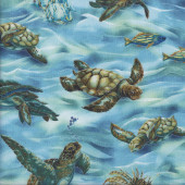 Turtles in Ocean Water Fish Wildlife Nature Quilting Fabric