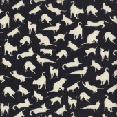 Cream Cat Silhouettes on Black Tuxedo Cats Animal Quilting Fabric