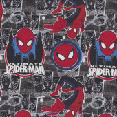 Spiderman on Grey Boys Quilting Fabric