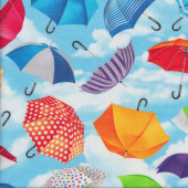 Colourful Umbrellas Blue Sky Clouds Rain Weather Quilting Fabric