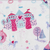 Unicorns and Carriages on White Castles Love Hearts Girls Quilting Fabric