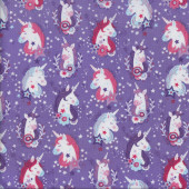 Pretty Unicorns on Purple with Stars Girls Quilting Fabric