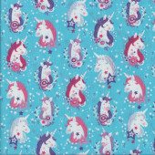 Pretty Unicorns on Blue with Stars Girls Quilting Fabric