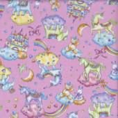 Unicorns Elephants Castles Rainbows on Pink Girls Fabric