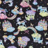 Unicorns Elephants Castles Rainbows on Black Girls Fabric