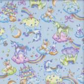 Unicorns Elephants Castles Rainbows on Blue Girls Fabric