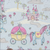 Unicorns Clouds Stars on Light Blue Quilting Fabric