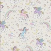 Unicorns Stars Moons Rainbows on Cream Quilting Fabric