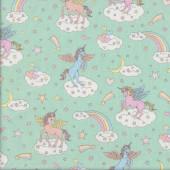 Unicorns Stars Moons Rainbows on Pastel Green Quilting Fabric