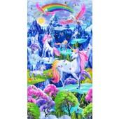 Pretty Unicorns Rainbows Butterflies Girls Quilt Fabric Panel