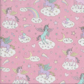 Unicorns Stars Moons Rainbows on Pink Quilting Fabric