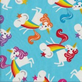 Unicorns with Pink Wings Rainbows Quilting Fabric