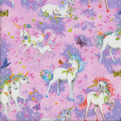 Pretty Unicorns on Pink Butterflies Girls Quilting Fabric