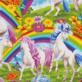 Unicorns and Rainbows Blue Sky Flowers Girls Quilting Fabric