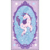 Unicorn Kisses Stars Pink Mauve Blue Girls Quilt Fabric Panel