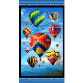 Hot Air Balloons Up in the Air Quilting Fabric Panel