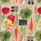 Market Fresh Vegetables on Tan Quilting Fabric