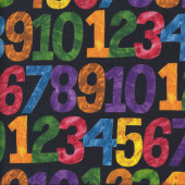 Colourful Numbers on Black Caterpillar Quilting Fabric