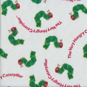Caterpillars with Red Faces on White Quilting Fabric