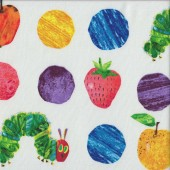 Very Hungry Caterpillar Colourful Circles Fruit Kids Quilting Fabric