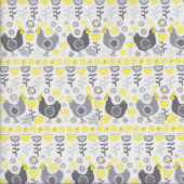 Chickens Leaves Flowers Village Life on White Quilting Fabric