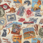 Australian Old Postcards Stamps Quilting Fabric