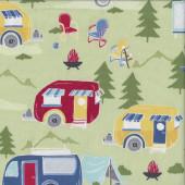 Retro Caravans on Green Quilting Fabric