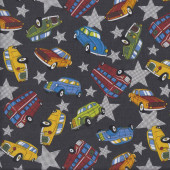 Vintage Cars Bus on Dark Grey Stars Boys Fabric