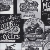 Vintage Black and White Motorbike Signs Motorcycles Boys Quilting Fabric