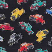 Vintage Pickup Trucks on Black Mens Boys Quilting Fabric