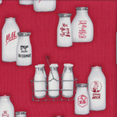Retro Milk Bottles Quilting Fabric
