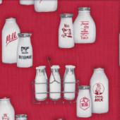 Retro Milk Bottles Quilting Fabric
