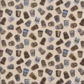 Vintage Sewing Thimbles Quilting Fabric