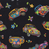 Volkswagen Cars on Black WV Beetle Flowers Hippy Boys Mens Quilt Fabric