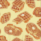 Delicious Waffles with Butter and Syrup Food Quilting Fabric