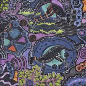 Australian Aboriginal Walkabout Kangaroo Boomerang Purple Quilting Fabric
