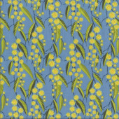 Australian Yellow Wattle Flowers on Blue Floral Quilting Fabric