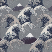 Waves Grey Quilting Fabric