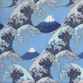 Waves Light Blue Quilting Fabric