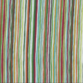 Wavy Stripes Green Tones with red and Yellow Quilting Fabric