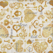 Wedding I Do Love Hearts Key Lock Marriage Quilting Fabric