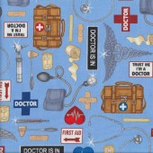 Medical Supplies on Blue Quilting Fabric