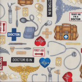 Medical Supplies on Cream Quilting Fabric