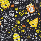 Bees Beehive Sunflower on Black Whats the Buzz Quilting Fabric