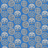 Sport Wheel Rims on Blue Start Your Engines Quilting Fabric